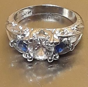 New! Genuine White Sapphire + Lab Blue .925 Ring 6